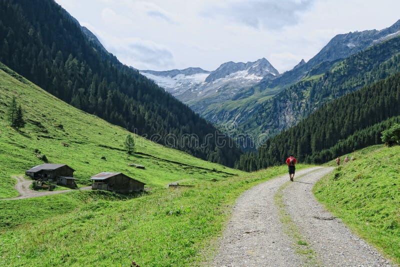 Het landschap van de Zillertalvallei in Tirol Europese Alpen Oostenrijk binnen stock afbeelding