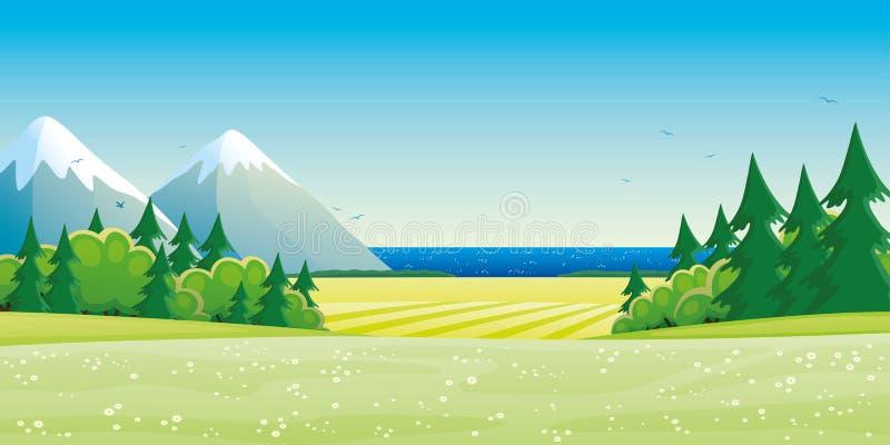 Het landschap van de zomer met bergen vector illustratie