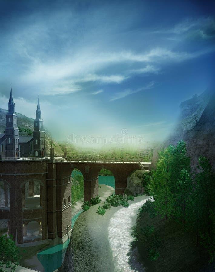Het landschap van de zomer met een kasteel royalty-vrije illustratie