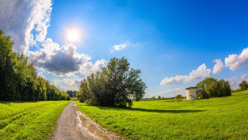 Het landschap van de zomer met groene weiden stock afbeelding
