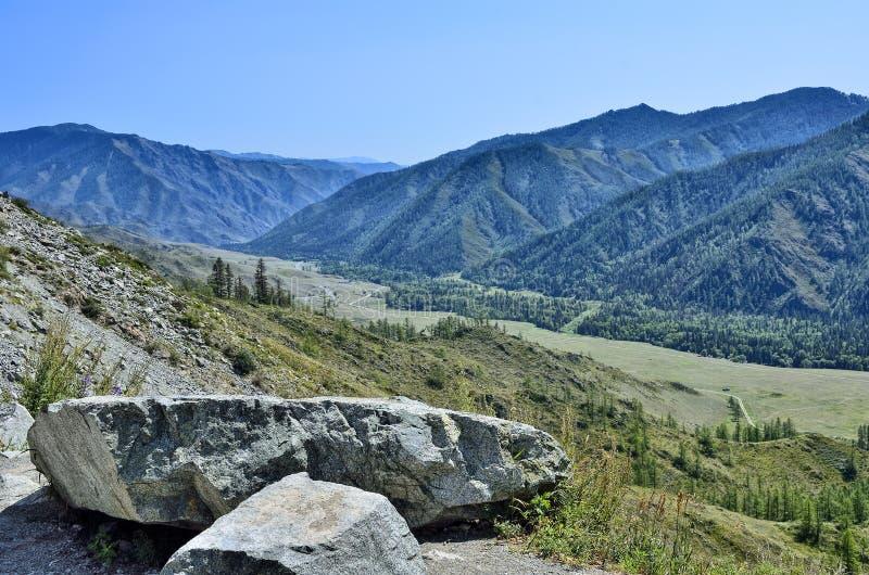 Het landschap van de zomerbergen, Altai, Rusland stock foto