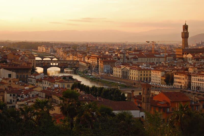 Het landschap van Florence bij zonsondergang royalty-vrije stock foto's