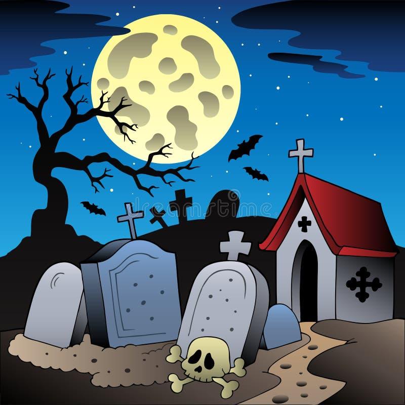 Het landschap van Halloween met begraafplaats 1 royalty-vrije illustratie
