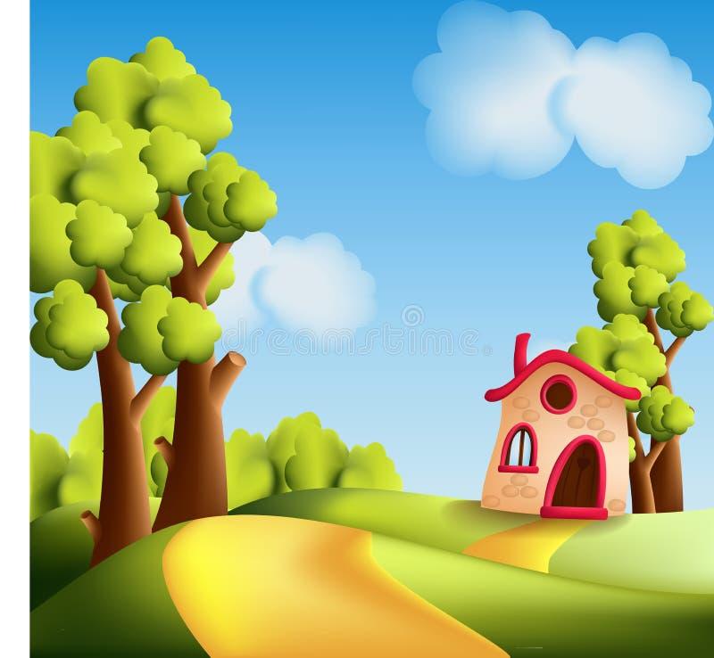 Het landschap van het beeldverhaal met bomen vector illustratie