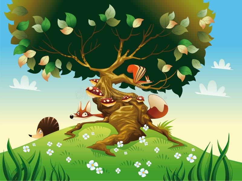 Het landschap van het beeldverhaal met dieren. vector illustratie