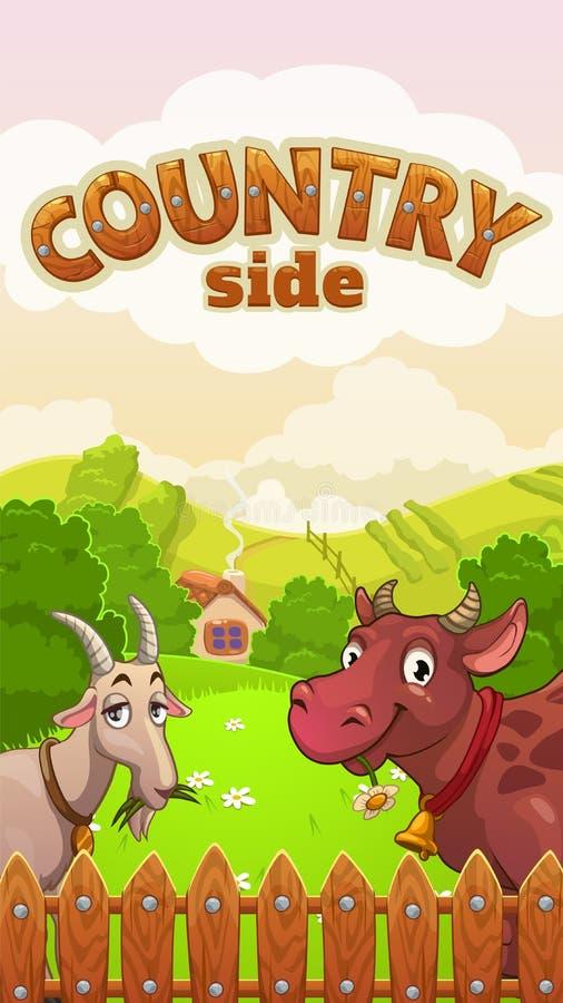 Het landschap van het beeldverhaalplatteland met koe en geit vector illustratie