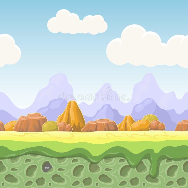 Het landschap van het beeldverhaalsprookje Stenen naadloze illustratie voor spelontwerp De horizontale achtergrond van het land vector illustratie