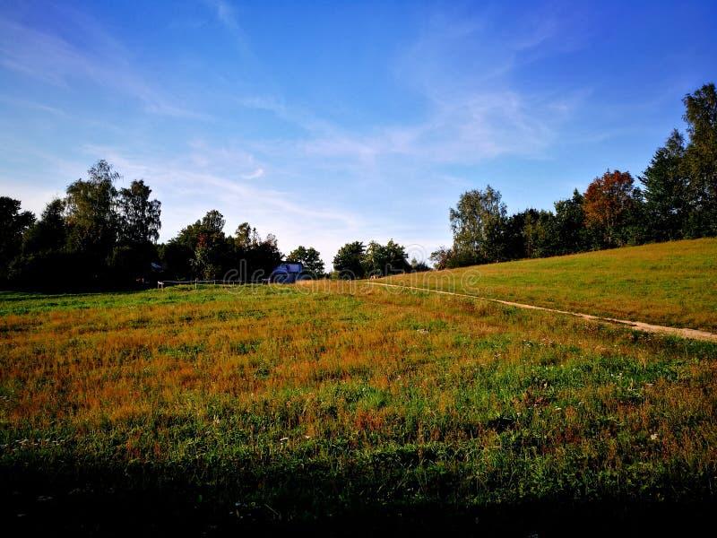 Het landschap van het dorp Artistiek kijk in uitstekende levendige kleuren stock fotografie