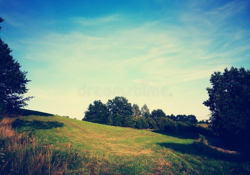 Het landschap van het dorp Artistiek kijk in uitstekende levendige kleuren stock afbeelding