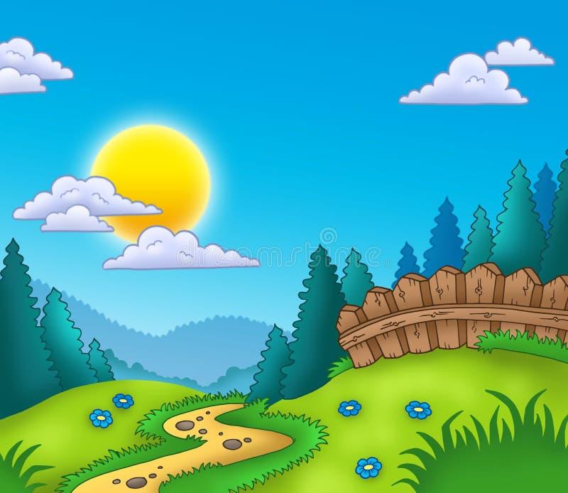 Het landschap van het land met Zon royalty-vrije illustratie