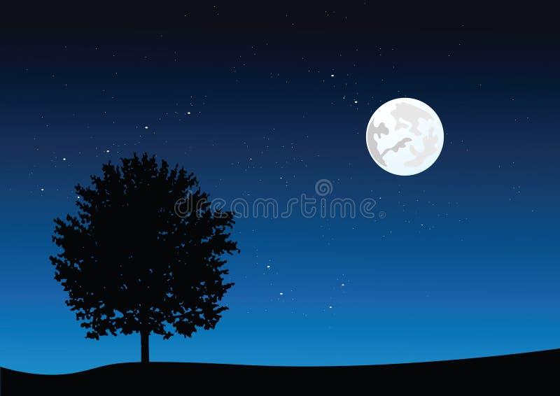 Het landschap van het maanlicht stock illustratie