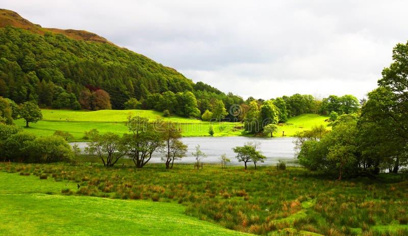Het landschap van het meerdistrict royalty-vrije stock afbeelding