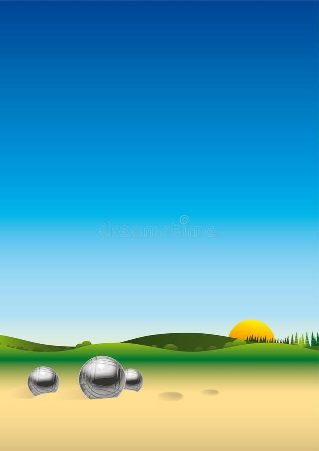 Het landschap van het panorama petanque stock illustratie