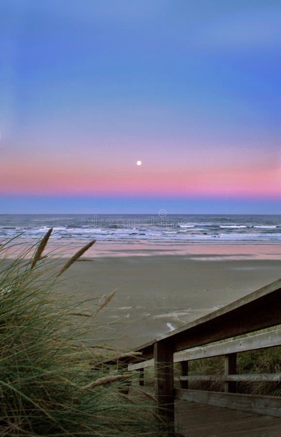 Het landschap van het strand bij zonsopgang royalty-vrije stock afbeelding