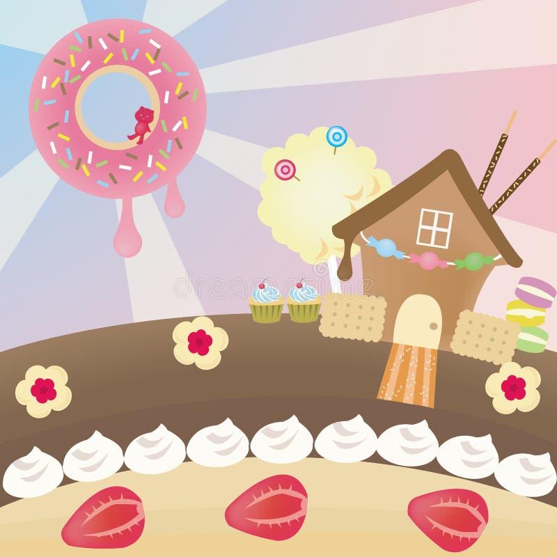 Het landschap van het suikergoed (vector) vector illustratie