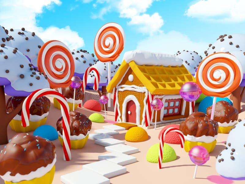 Het landschap van het suikergoedland stock illustratie
