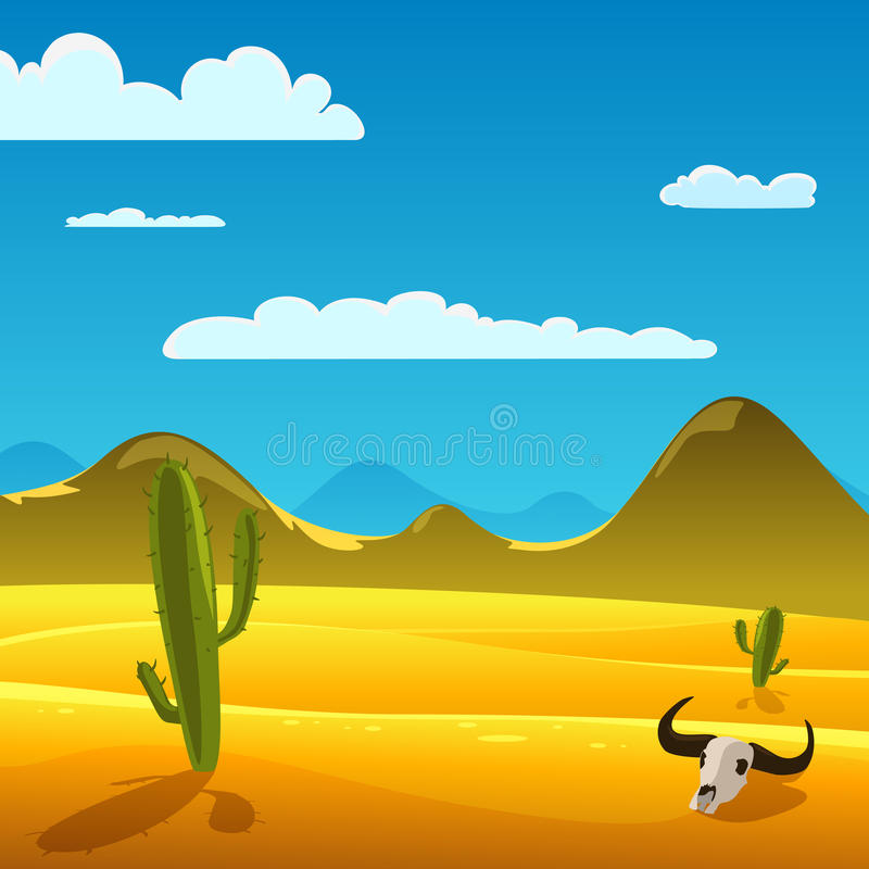 Het Landschap van het woestijnbeeldverhaal royalty-vrije illustratie