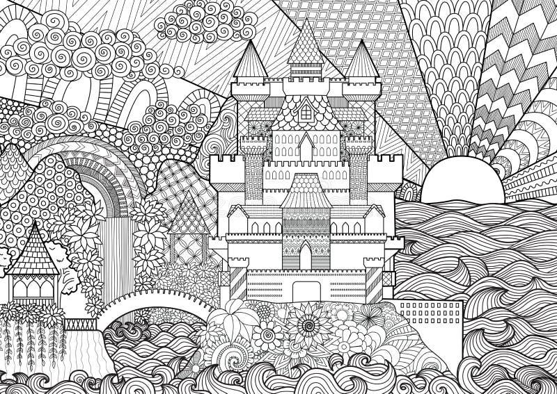 Het landschap van het Zendoodlekasteel voor achtergrond, volwassen kleuring en ontwerpelement voorraad royalty-vrije illustratie
