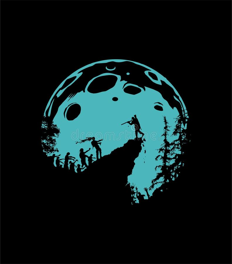 Het landschap van het zombiesilhouet stock afbeelding