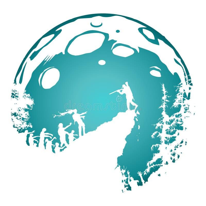 Het landschap van het zombiesilhouet, in de schaduw gestelde blauwe volle maanachtergrond stock foto