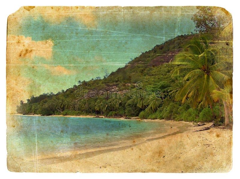Het landschap van Indische Oceaan, Seychellen. Oude prentbriefkaar. vector illustratie