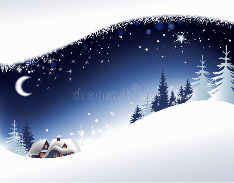 Download Het landschap van Kerstmis vector illustratie. Illustratie bestaande uit maan - 16538462