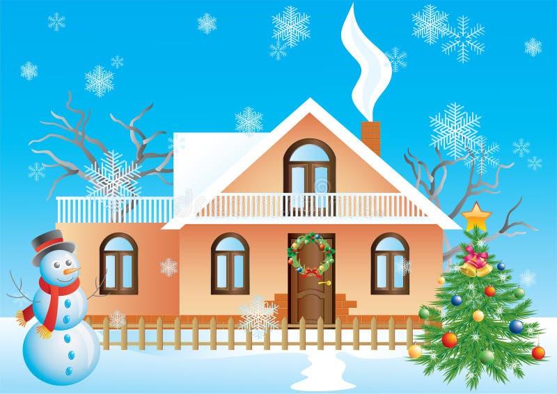 Het landschap van Kerstmis. royalty-vrije illustratie