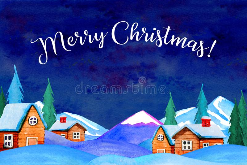 Het landschap van het land van de de winternacht met huizen, bergen en sparren Titel` Vrolijke Kerstmis ` vector illustratie