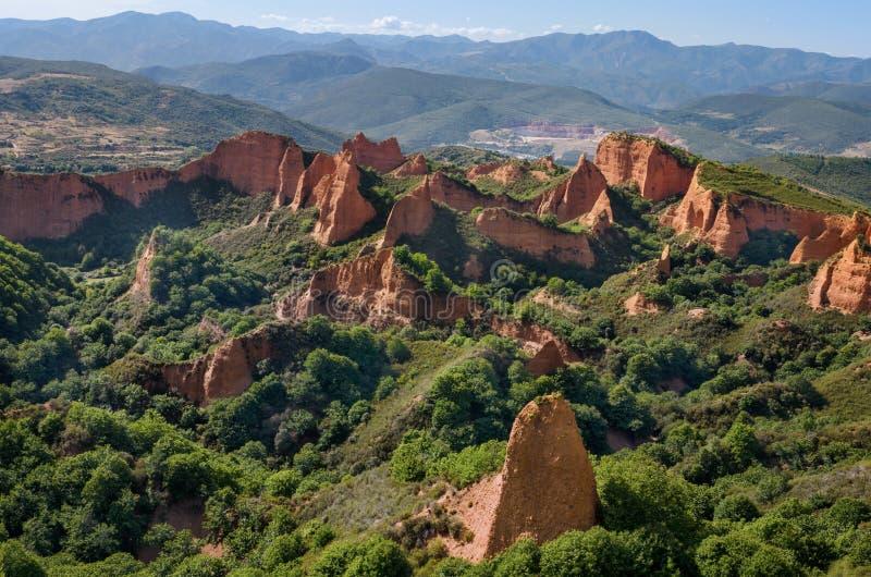 Het Landschap van Medulas van Las Oude roman goudmijnen in Leon, Spanje royalty-vrije stock foto's
