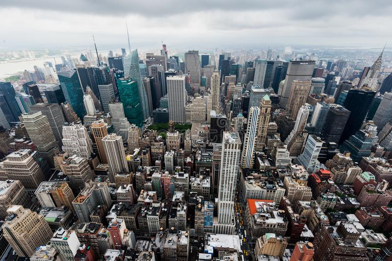 Het landschap van New York van het dak van Empire State Building in 2012 wordt geschoten die De V.S. royalty-vrije stock fotografie