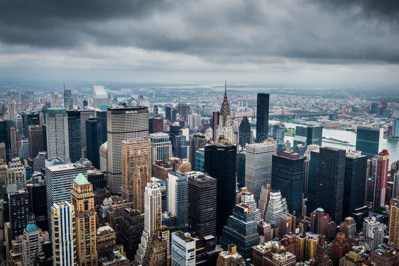 Het landschap van New York Wolkenkrabbers van New York De V.S. royalty-vrije stock foto