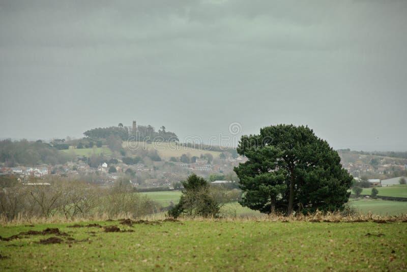 Het landschap van Oxfordshire op donkere dag stock afbeeldingen