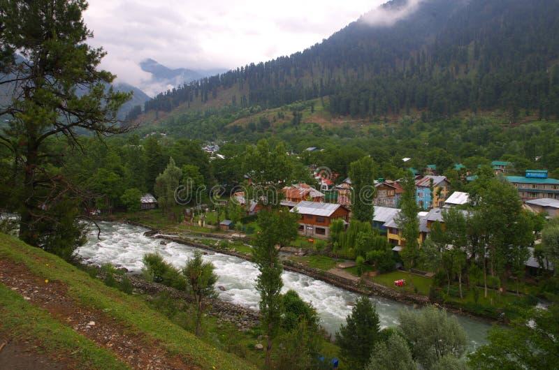 Het landschap van het Pahalgamdorp in Kashmir-2 royalty-vrije stock foto's