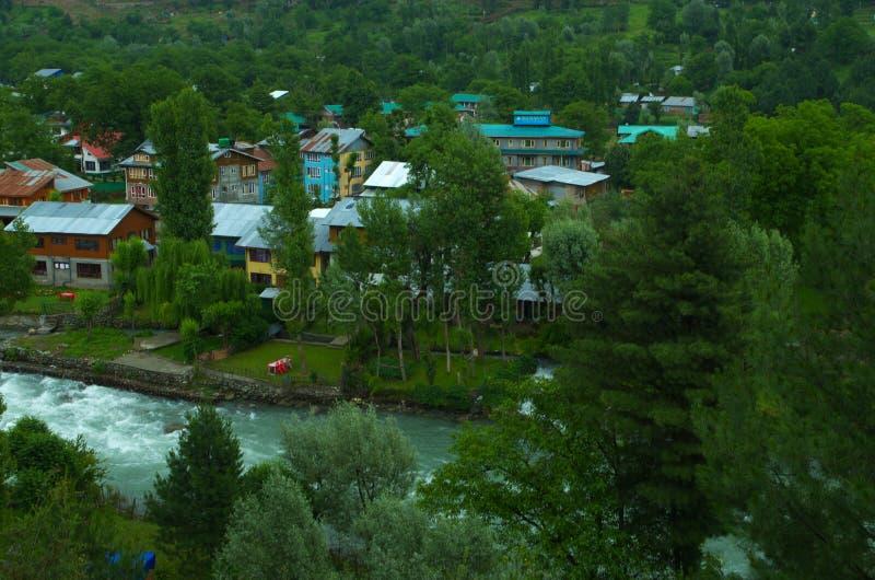Het landschap van het Pahalgamdorp in Kashmir-3 royalty-vrije stock foto