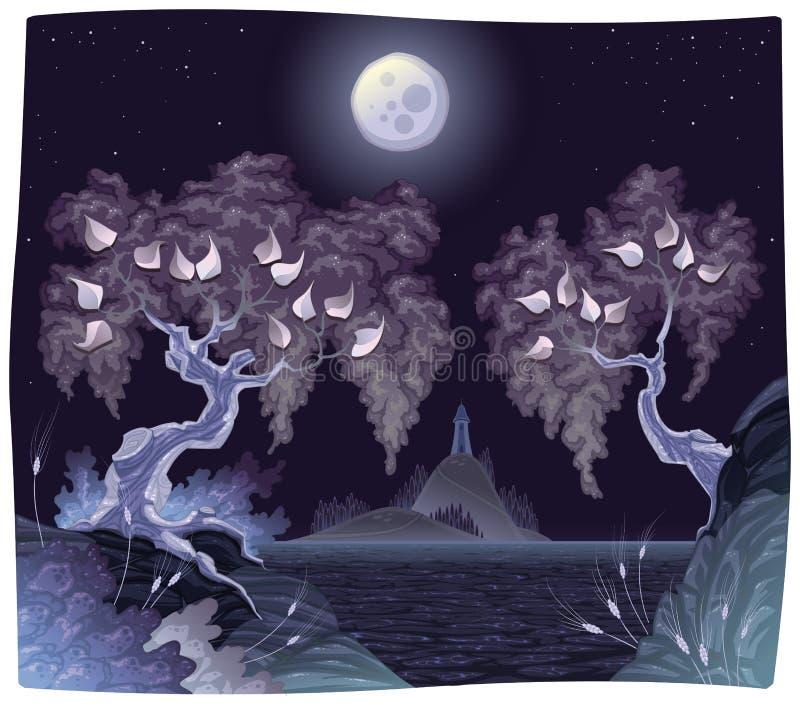 Het landschap van Romanitc op het overzees in de nacht. stock illustratie