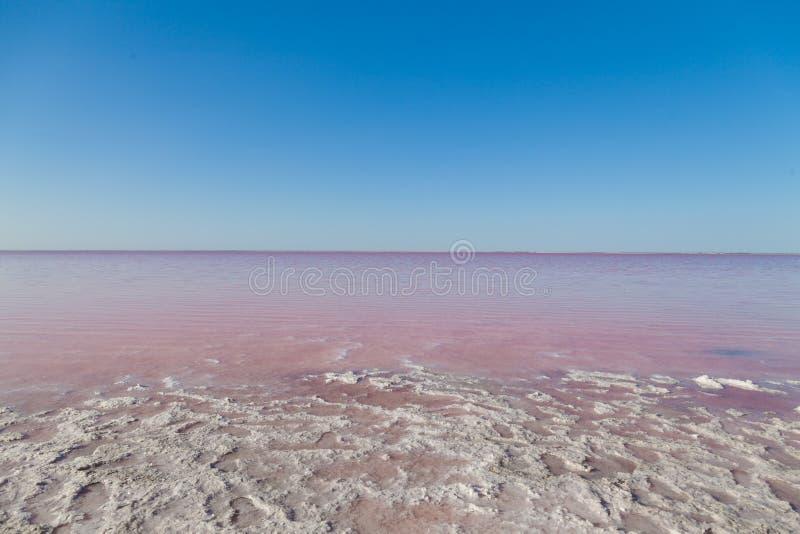 Het landschap van Salt Lake met water roze en blauwe overzees royalty-vrije stock afbeeldingen