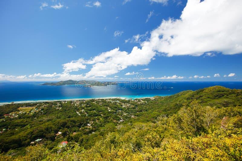Het landschap van Seychellen van hierboven royalty-vrije stock foto