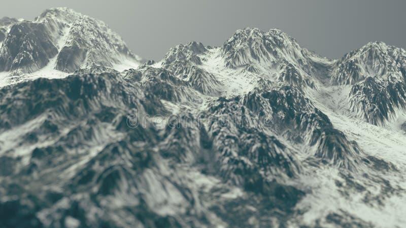 Het Landschap van sneeuwbergen Diepte van gebied op rug van een Perzisch tapijtdetail 3D Illustratie stock illustratie