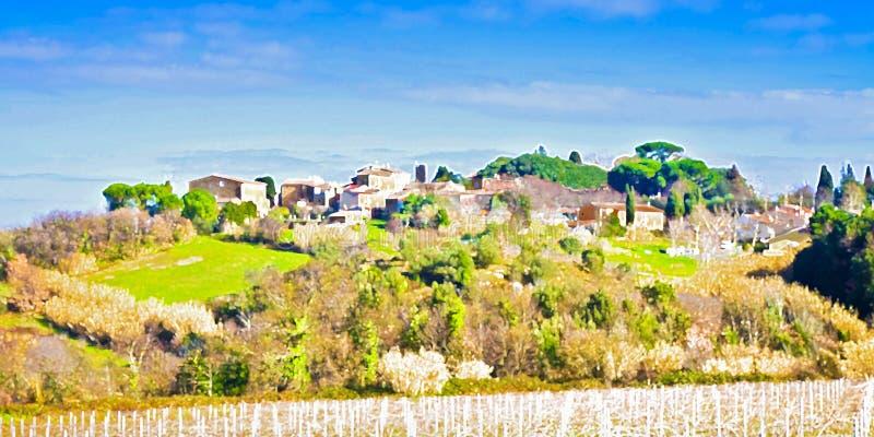 Het landschap van Toscanië - waterverf digitale interpretatie Italië stock foto's