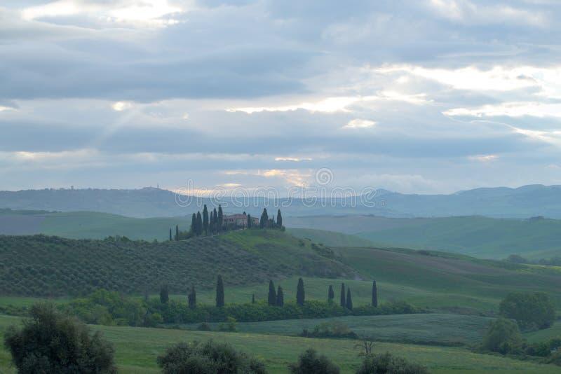 Het landschap van Vald ?Orcia in de lente Zachte lichten van dageraad op de heuvels van Toscani? Cipressen, heuvels, gele raapzaa stock fotografie
