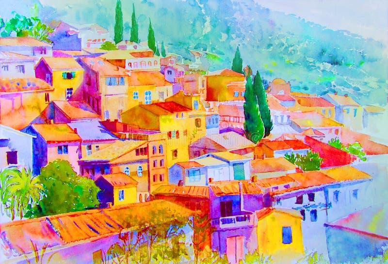Het landschap van waterverfschilderijen van dorpsmening over heuvelberg stock illustratie