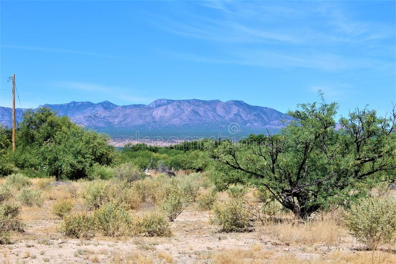Het Landschap van het woestijnlandschap in Cochise-Provincie, Heilige David, Arizona wordt gevestigd dat royalty-vrije stock foto's