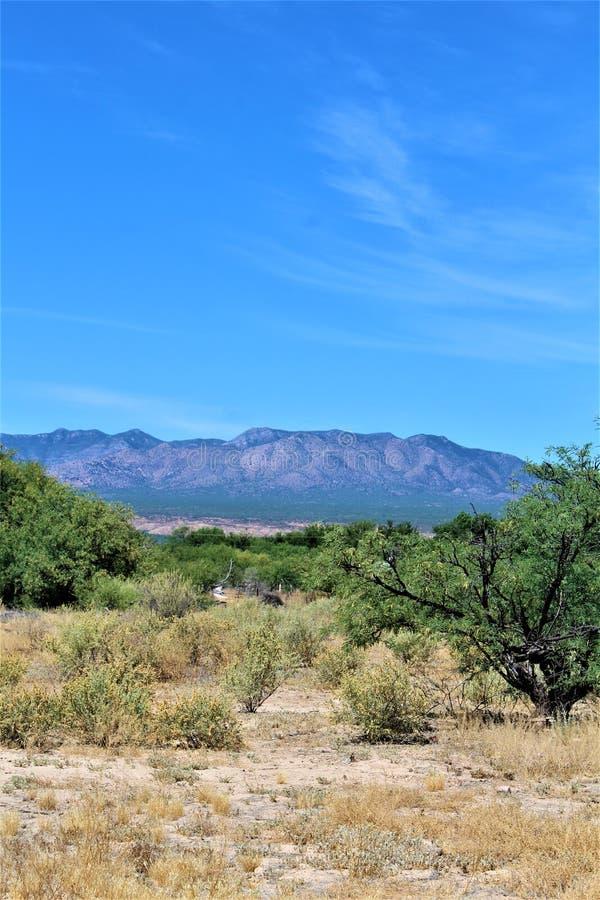 Het Landschap van het woestijnlandschap in Cochise-Provincie, Heilige David, Arizona wordt gevestigd dat royalty-vrije stock foto