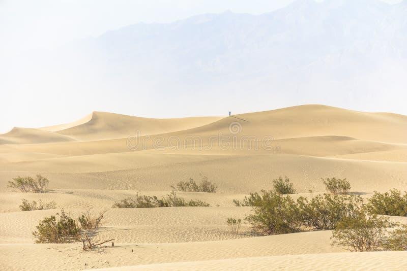 Het landschap van zandduinen in de hitte van Doodsvallei stock afbeeldingen