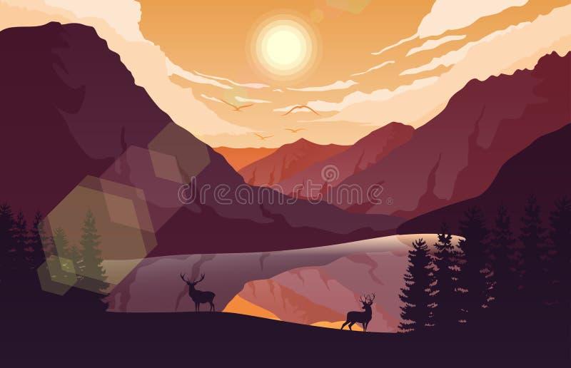 Het landschap van zonsondergangbergen met bos en twee herten dichtbij een meer royalty-vrije illustratie