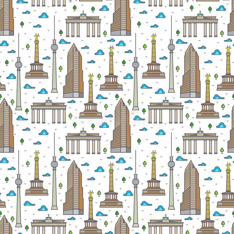Het landschaps naadloos patroon van Duitsland Berlijn vector illustratie