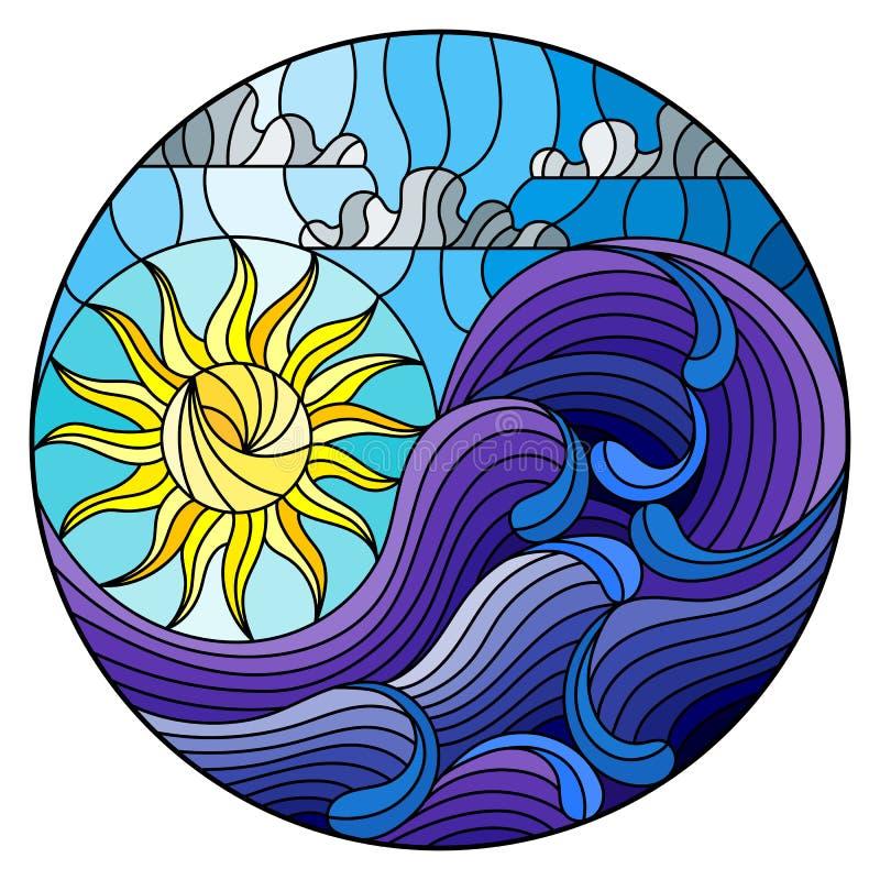 Het landschaps overzeese van de gebrandschilderd glasillustratie abstracte golven op de achtergrond van Zonnige hemel en wolken,  stock illustratie