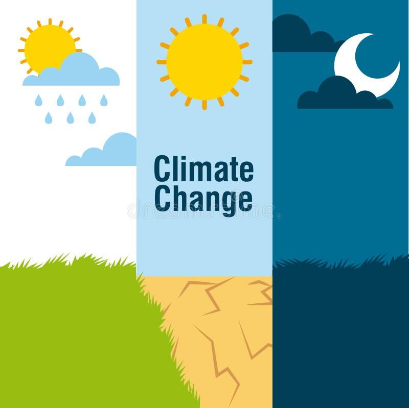 Het landschaps regenende woestijn van klimaatveranderingbanners en nachtscène stock illustratie