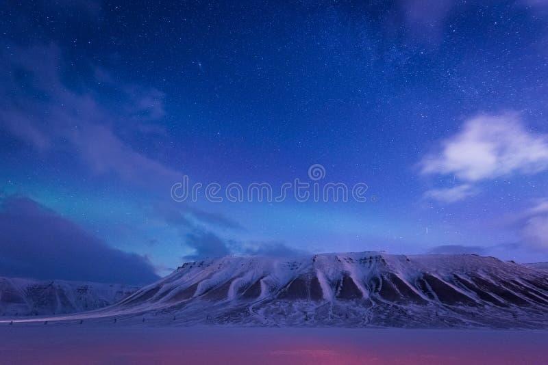 Het landschapsaard van behangnoorwegen van de bergen van bouw de sneeuwstad van Spitsbergen Longyearbyen Svalbard op een polair d royalty-vrije stock fotografie