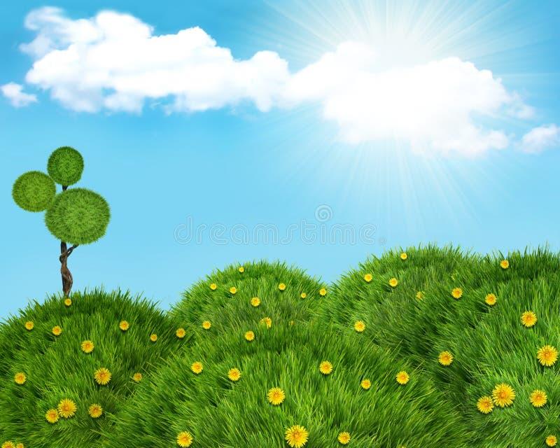 Het landschapsachtergrond van de aard met groen gras